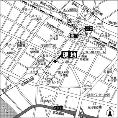 【地図】レ・ソール本八幡エルア