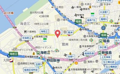 【地図】レジュールアッシュ梅田WEST