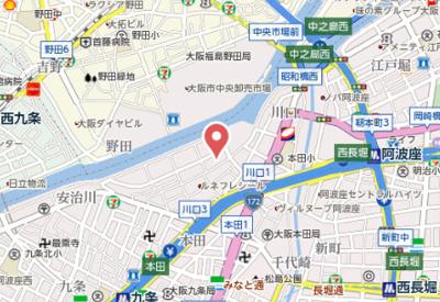 【地図】エスリード中之島ザ・コア