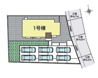 1号棟区画図、駐車6台可能です