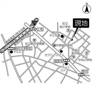 【地図】ヒルトップ野沢 礼金0 オートロック 独立洗面台 2人入居可