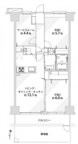 サンリット西新井:全居室洋室&専用のお庭付きの2LDK+Sのリノベーション物件です!サービスルームは居室としても使用可能です!
