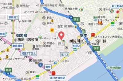 【地図】レジュールアッシュ塚本Ⅱ