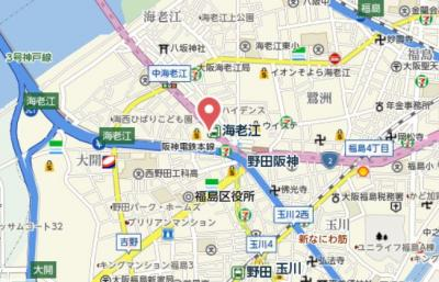 【地図】ユニバーサル海老江