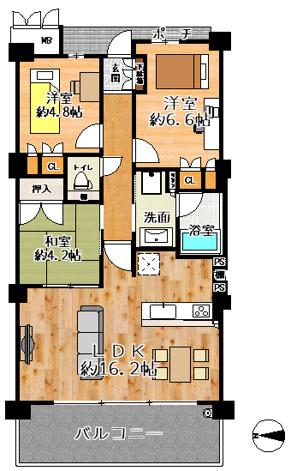 グランロジュマン豊中少路C街区 3LDKの2階部分