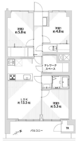武蔵野ハイム:トランクルーム付き3LDK+テレワークスペース付き新規内装リノベーション物件は東向きワイドバルコニーが付いております!