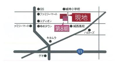 【地図】丸亀市津森町 1号地