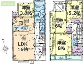 ワイドバルコニー WIC 主寝室8帖 千葉市 矢作町 全2棟 2号棟