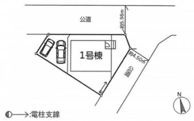 北東角地に建つ邸宅。前面道路もそれぞれ5.98mと4.50mありますので、圧迫感を感じることもないでしょう。