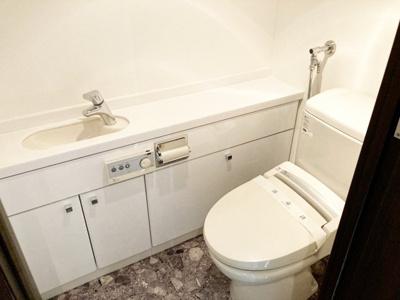 手洗いカウンター付きのトイレ