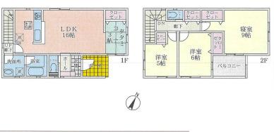 新築戸建て  3LDK+畳コーナー 土地面積:115.83平米(公簿) 建物面積:97.20平米 東向き