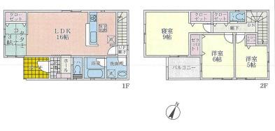 新築戸建て  3LDK+畳コーナー 土地面積:115.50平米(公簿) 建物面積:97.20平米 南西向き