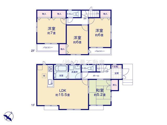 【区画図】川口市大字安行領家715-1(B号棟)新築一戸建てハートフルタウン