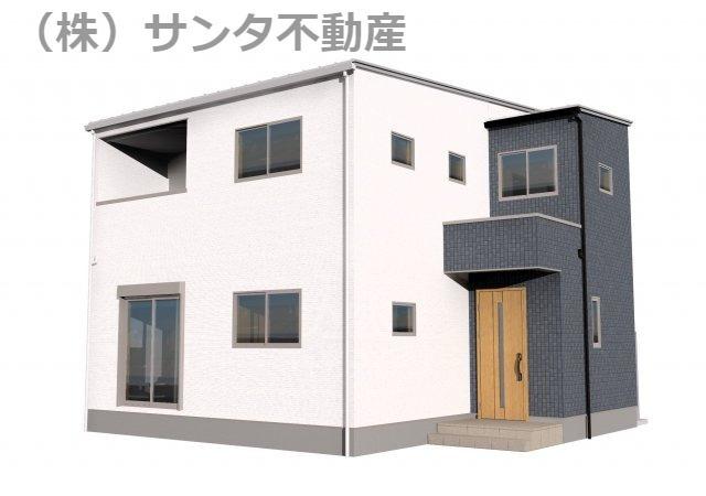 完成イメージパース。30坪4LDKタイプの建物です。令和4年3月完成予定です。