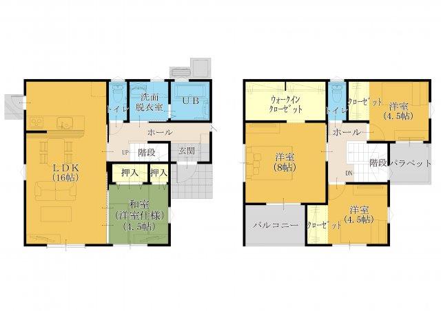 2階建て。30坪4LDK。建物面積99.36㎡。