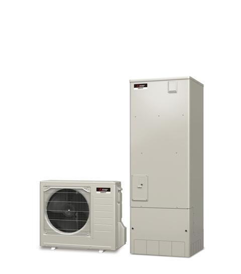外気の熱を利用してお湯を沸かす電気給湯機(エコキュート)。光熱費削減やお手入れ簡単な機能付き。