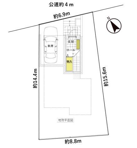 土地価格4080万円、土地面積117.18m2 地下車庫を新たに新設します。