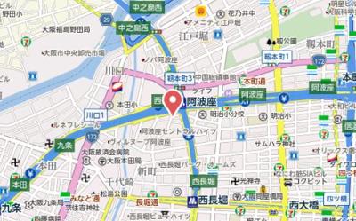 【地図】コンフォータブル阿波座