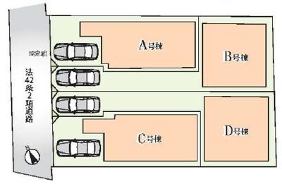 【区画図】中野区中央2丁目 新築戸建 B号棟 7798万円