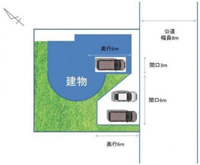 車庫+スペース2台 駐車3台分可能