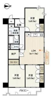 3LDK、価格3450万円、専有面積72.96m2、バルコニー面積6.42m2 最上階の3LDK。角部屋で通風・採光良好です。