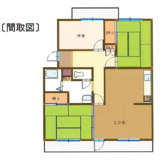 専有面積69.71平米、バルコニー面積7.30平米~南向き、5階最上階ならではの開放感と日当たり、和室2部屋の3LDK
