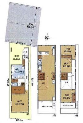 【土地図+建物プラン例】杉並区西荻北4丁目 建築条件付き売地 A区画 7190万円