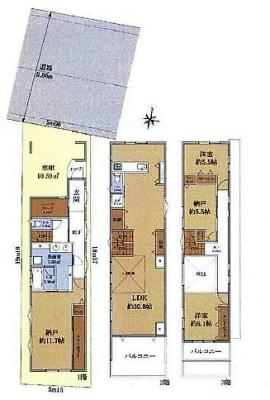 【土地図+建物プラン例】杉並区西荻北4丁目 建築条件付き売地 B区画 7190万円