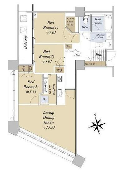 パークコート麻布十番ザタワー:南西向き!全居室収納・窓が付いた3LDKリフォーム物件です!