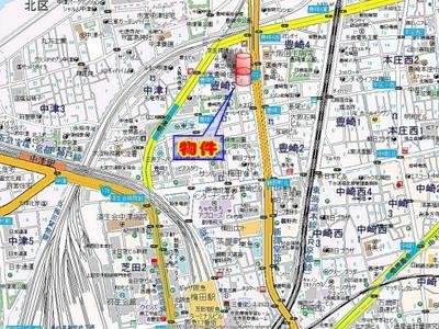 【地図】アスヴェル梅田北