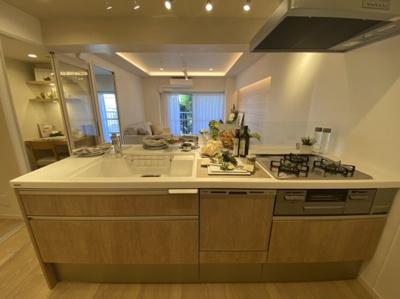 対面式キッチン システムキッチン 食洗器・浄水器一体型水栓付き シャワーヘッド付き