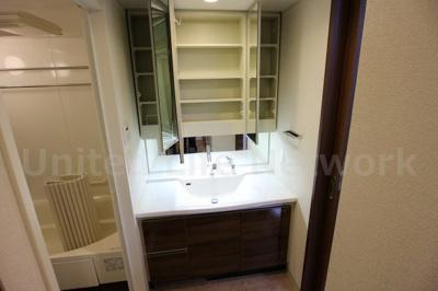 三面鏡付きシャワー洗面台
