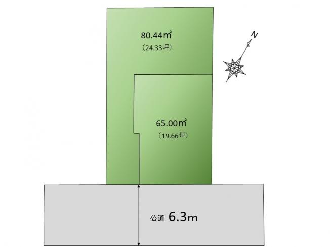 【区画図】東南向き!6m公道の邸宅!大田区下丸子3丁目 売地