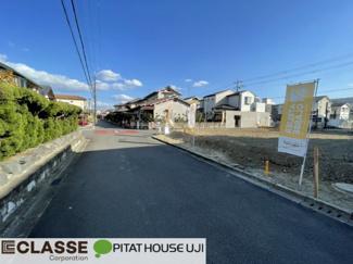 【前面道路含む現地写真】久御山町栄1丁目1区画 売土地 建築条件無し
