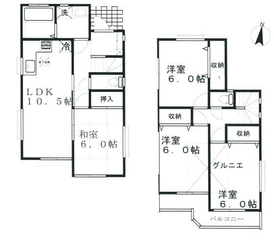 10.5帖のLDKに隣和室が6.0帖あるので、ゆったりと過ごせそうですね♪2階は全室6.0帖あります!