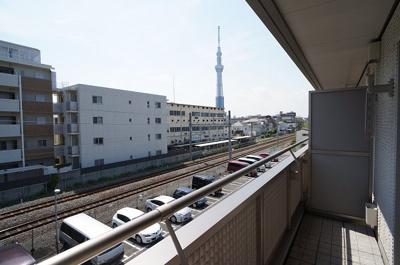 ワイドで明るいバルコニーからは東京スカイツリーが望めます♪