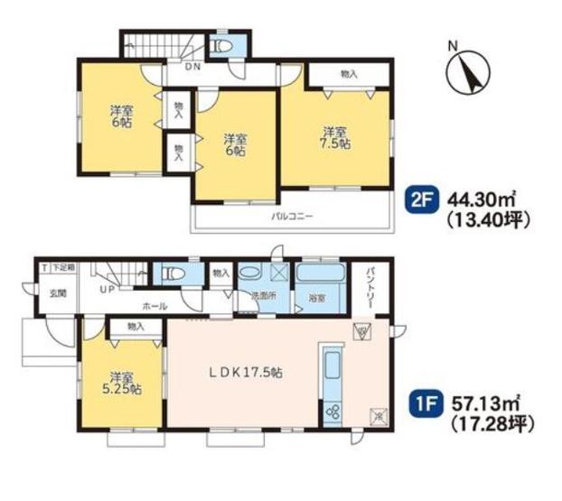 B号棟 4LDK 家事動線のよい間取りです。時短になりますよ。