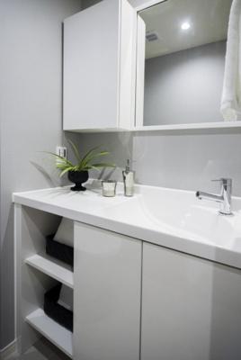トイレにも設備が充実した手洗い場があります。水栓だけでなく、ミラーやカウンター、収納力のある棚など贅沢にお使い頂けます。