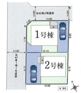 【区画図】府中市多磨町2丁目 新築戸建 全2棟 2号棟 仲介手数料無料!