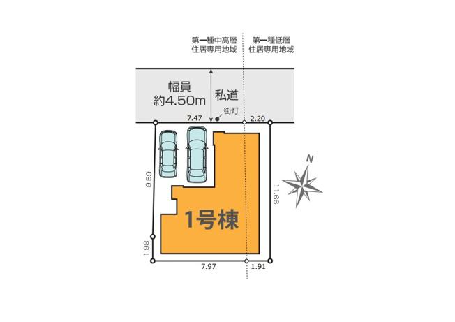 駐車2台可能な二階建て5LDK!18.9帖の1階LDKには解放感を演出する吹抜けを設置!水廻り設備をLDKフロアに集約した導線の良いレジデンスです。