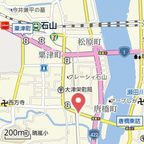 【地図】B.H.C唐橋駅前
