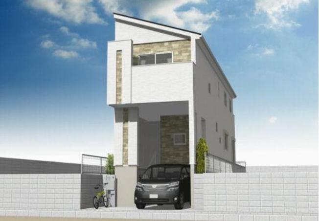 完成予想図 ハイルーフの大型車も駐車可能なガレージ付の大型4LDK!