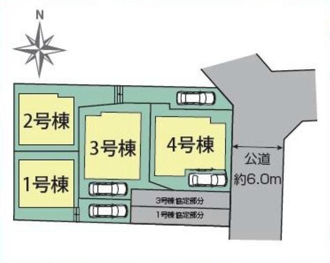 【区画図】仲介手数料無料 練馬区中村2丁目新築一戸建て