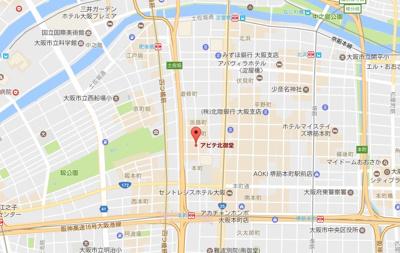 【地図】アビテ北御堂