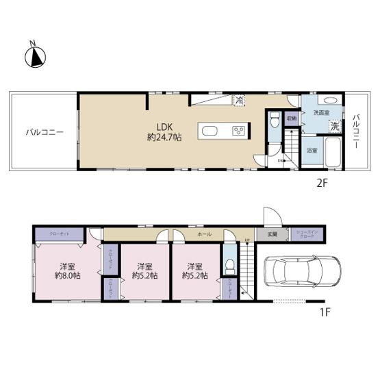 建物面積約106.19㎡ 2階建3LDK+車庫(建物参考価格:2700万円)