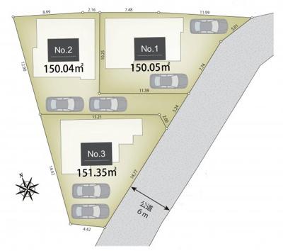 【区画図】東大和市芋窪6丁目 建築条件付売地 全3区画 3号区