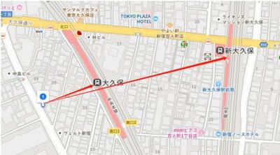 【地図】新宿区百人町 7階 区分事務所