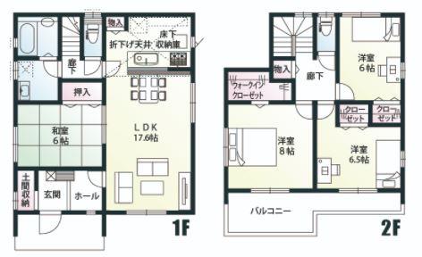 A号棟 4LDK+SIC+WIC リビングスルー階段仕様なのでご家族と自然とコミュニケーションがとれますよ。