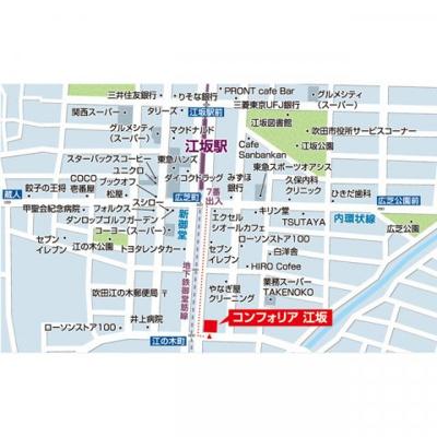 【地図】コンフォリア江坂