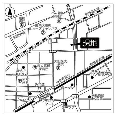 【地図】ベルハウス高槻